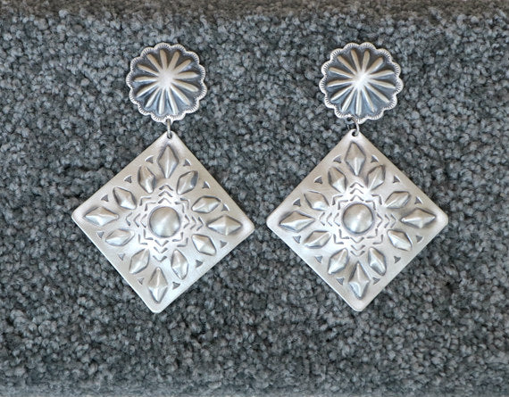 Large Native American Sterling Silver Stamped Concha Drop Earrings