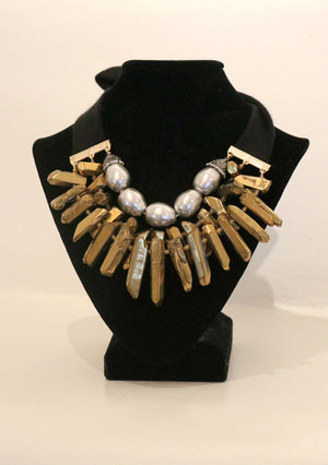 Italian Cashmere Ribboned Necklace w/Gold Enameled Quartz & Pearls