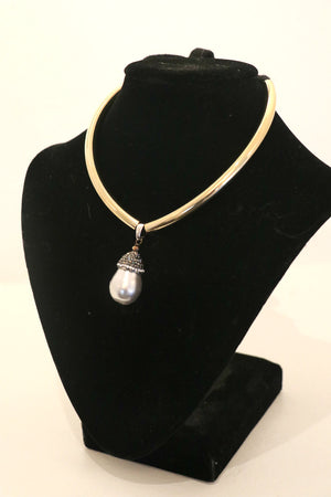 Italian Cashmere Ribboned Necklace w/ Brass, Baroque Pearl & Marcasite