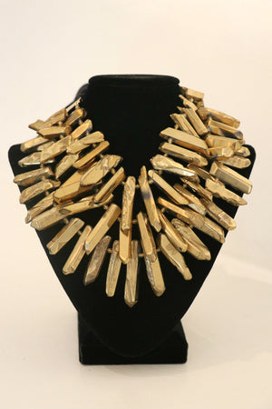 Italian Cashmere Ribboned Necklace w/ Gold Enameled Quartz