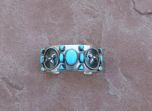 Native American Sleeping Beauty Turquoise Sterling Silver Cuff w/Horse