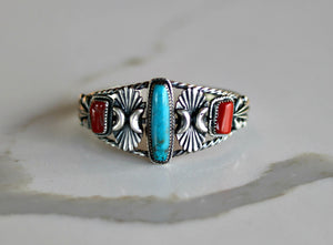 Native American Kingman Turquosie & Coral Sterling Silver Cuff