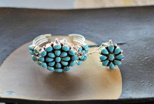 Native American Cluster Kingman Turquoise Cuff & Ring Set
