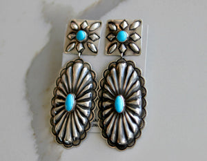 Large Native American Sterling Silver w/Sleeping Beauty Turquoise Concha Drop Earrings