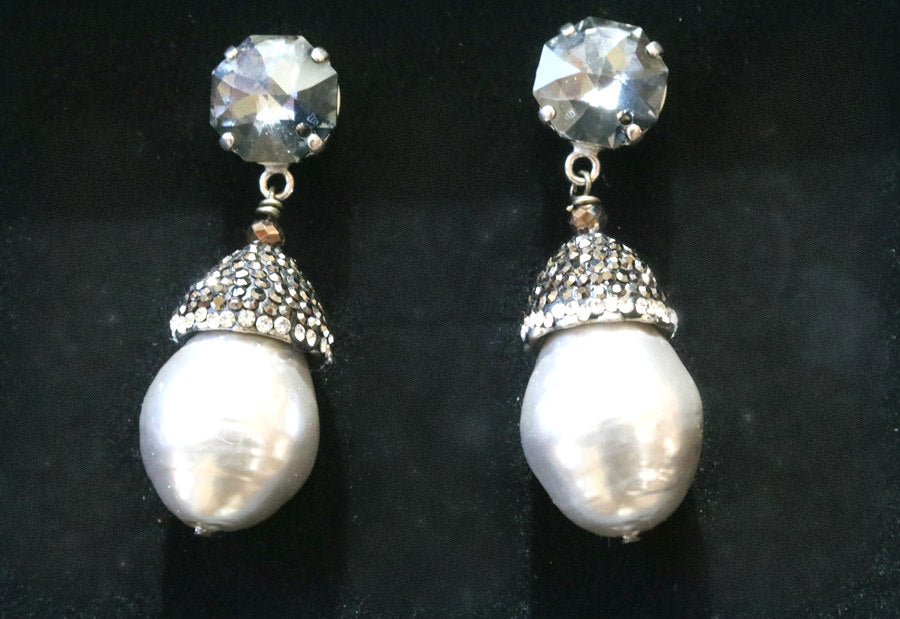 Italian Handcrafted Baroque Pearl & Marcasite Earrings