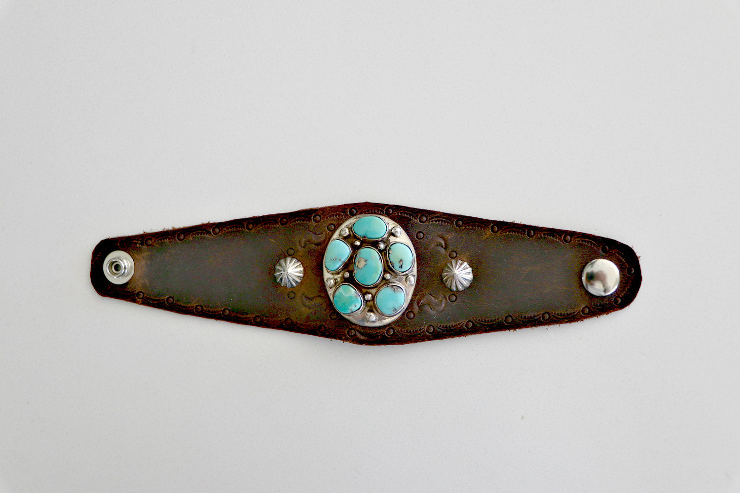 Native American Sleeping Beauty Turquoise Leather Cuff