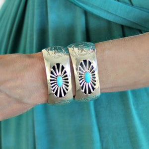 Native American Sterling Silver Shadow Box Cuff With Sleeping Beauty Turquoise