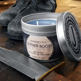 Large Handmade Leather Soy Candle