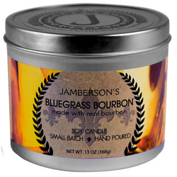 Bluegrass Bourbon Soy Candle handmade with real bourbon.