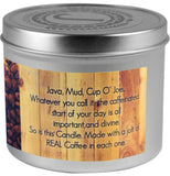 Coffee Soy Candle contains a bag's worth of REAL, organic, fair trade coffee in each one!