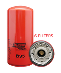 (CASE OF 6) B95 BALDWIN OIL FILTER LF3333 for Detroit Diesel, Cummins Engines a024