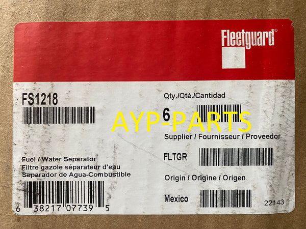 (CASE OF 6) FS1218 FLEETGUARD FUEL FILTER BF1218 Caterpillar & Detroit Engines a289