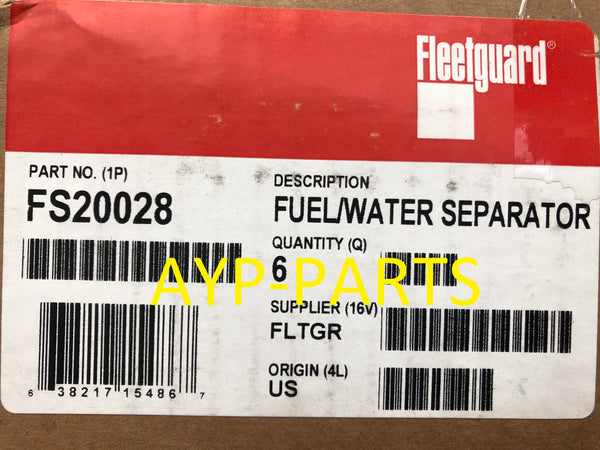 (CASE OF 6) FS20028 FLEETGUARD FUEL FILTER BF1360-O Blue Bird Hino Mercedes Nissan a049