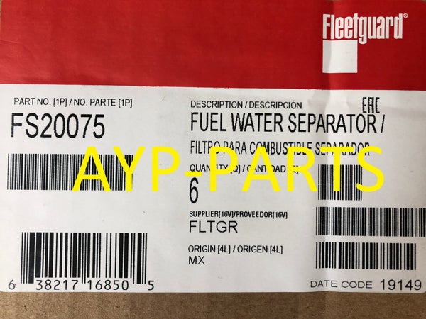 (CASE OF 6) FS20075 FLEETGUARD FUEL FILTER for Kenworth Peterbilt Paccar MX-13 a010