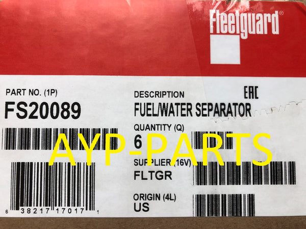 (CASE OF 6) FS20089 FLEETGUARD FUEL FILTER for 13-18 RAM 2500 3500 4500 5500 a094