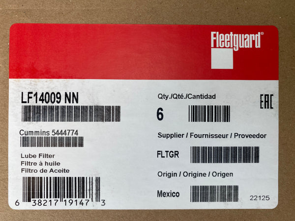 (CASE OF 6) LF14009NN FLEETGUARD OIL FILTER ISL9 ISL a003