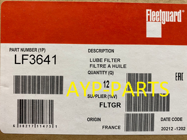(CASE OF 12) LF3641 FLEETGUARD OIL FILTER B7025 Case 440 440T Series 3, TK units a264
