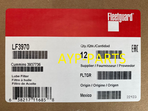 (CASE OF 12) LF3970 FLEETGUARD OIL FILTER Case Cummins B Series Freightliner a150