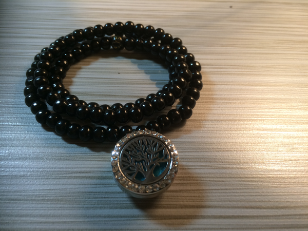 Spiritual Beaded Wrap Bracelet & Jewel Pop Set with Essential Oil Locket and 2 Additional Jewel Pops
