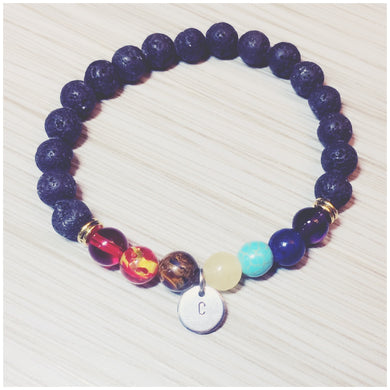 Chakra Bracelet with Lava Beads and Personalized Hand-Stamped Stainless Steel Initial Disc