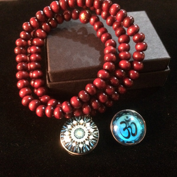 Beaded Spiritual Wrap Bracelet with Yoga Inspired Charms (Various Colours)