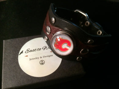 Adjustable Leather Cuff Bracelet with Sports Theme Interchangeable Charm