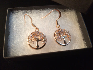Tree of Life Drop Earrings with Rhinestones - Rose Gold or Silver