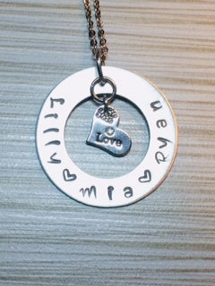Circle of Love - Large Lightweight Pendant Necklace - Hand Stamped