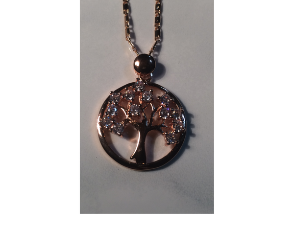 "Tree of Life Rhinestone Pendant (Rose Gold) with 18"" Chain"