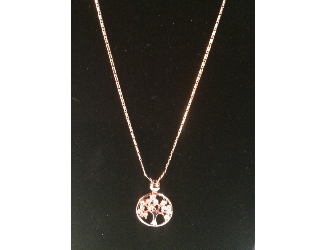 Tree of Life Rhinestone Pendant (Rose Gold) with 18