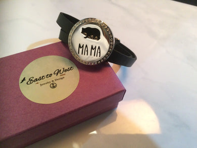 Adjustable Leather Wrap Bracelet with Mama Bear Essential Oil Locket