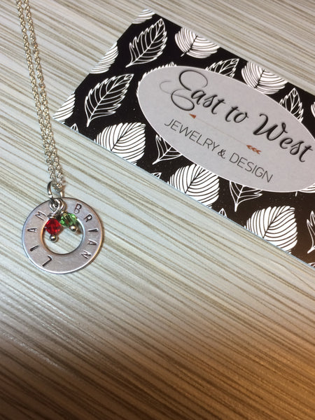 Hand Stamped Circle of Love Small Pendant (Solid Polished Stainless Steel)