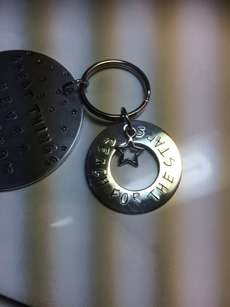 """Great Things"" Key Ring - Hand Stamped"