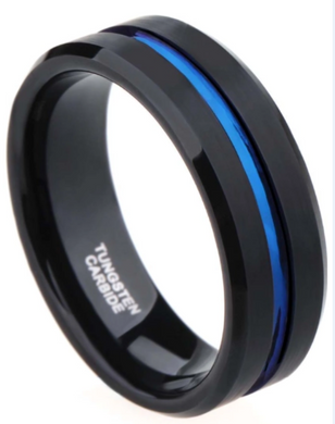 Solid Tungsten Carbide Ring with Blue Center Line
