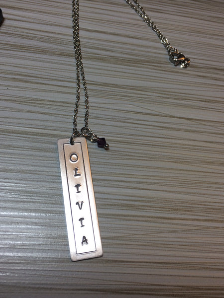 Customized Name Bar Pendant Necklace - Hand-Stamped with Swarovski Crystal Birthstone