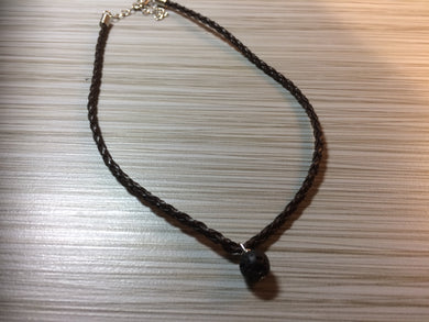 Energy Balancing Natural Lava Stone Braided Leather Necklace