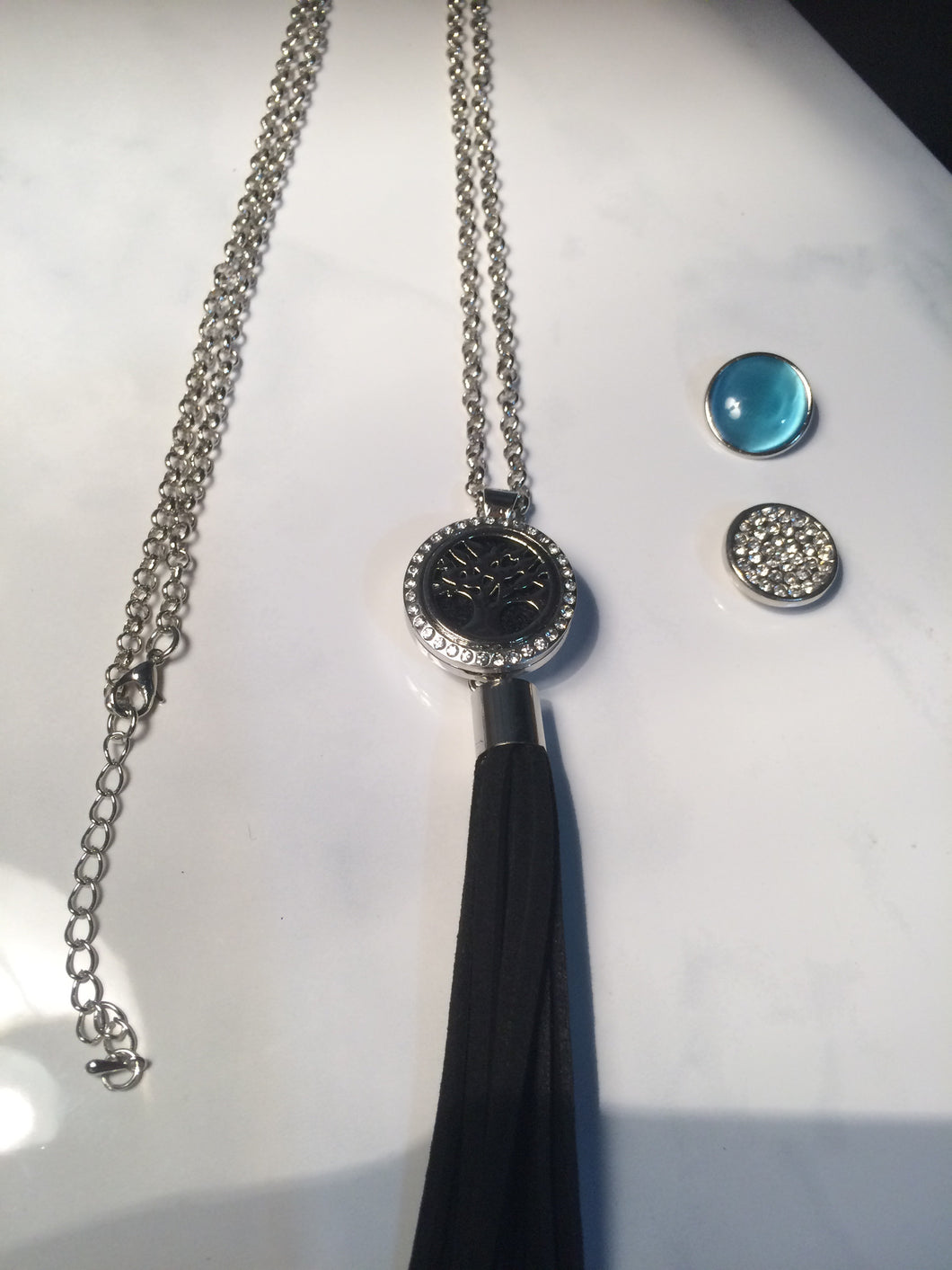 Tassel Necklace with Tree of Life Essential Oil Locket