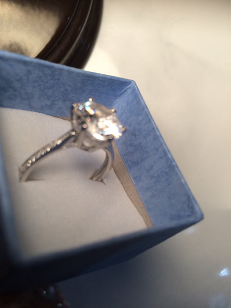 925 Sterling Silver Solitaire Ring - 3 Carat Equivalency
