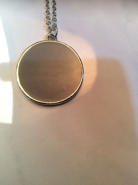 Simple Disc Pendant with Long Silver Chain
