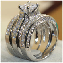 Triple Band Bridal Ring Set - Sterling Silver Plated