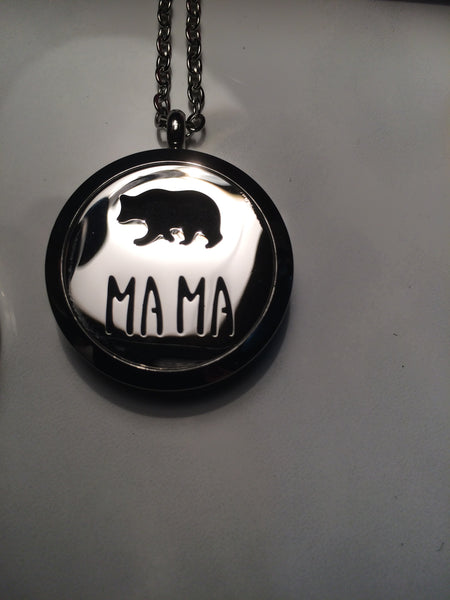Mama Bear Essential Oil Locket Necklace