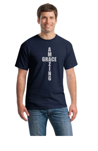 AMAZING GRACE Christian T-shirt, navy with silver design