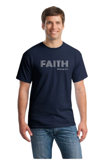 FAITH T-shirt, navy with silver design