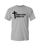 KNOW JESUS KNOW LIFE Christian T-shirt, grey with black design
