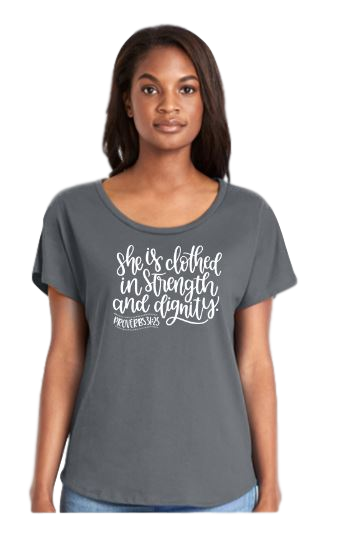 "Ladies Dolman Style Grey T-shirt, ""Clothed with Strength and Dignity"" Design, Rhinestone Accents"