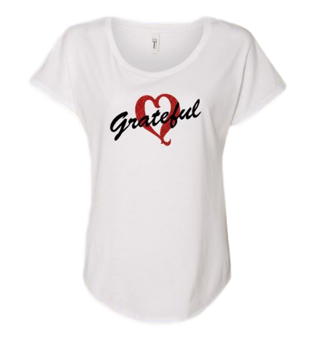 Ladies Dolman Style White Grateful Heart T-shirt with Red Glitter Heart