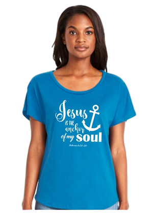 "Ladies Dolman Style Turquoise T-shirt with ""Jesus Is The Anchor of My Soul"" Design"