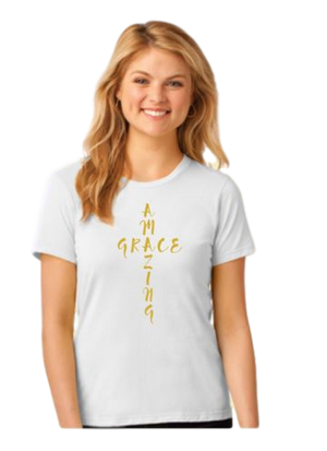 AMAZING GRACE Ladies Christian T-shirt, white with gold design