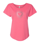 Ladies Dolman Style Hot Pink T-shirt with Crystal Rhinestone Heart