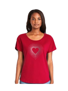 Ladies Dolman Style Red T-shirt with Crystal Rhinestone Heart